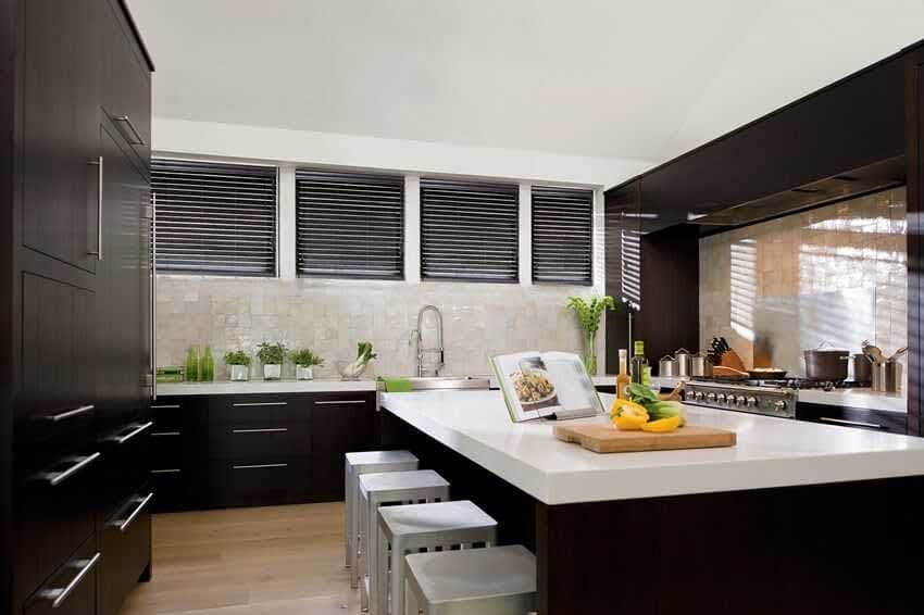Levolor Faux Wood Venetian Blind in a kitchen.