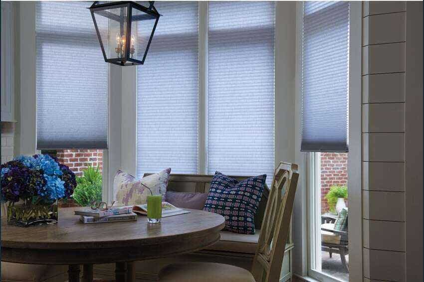 Levolor light filtering pleated shades.